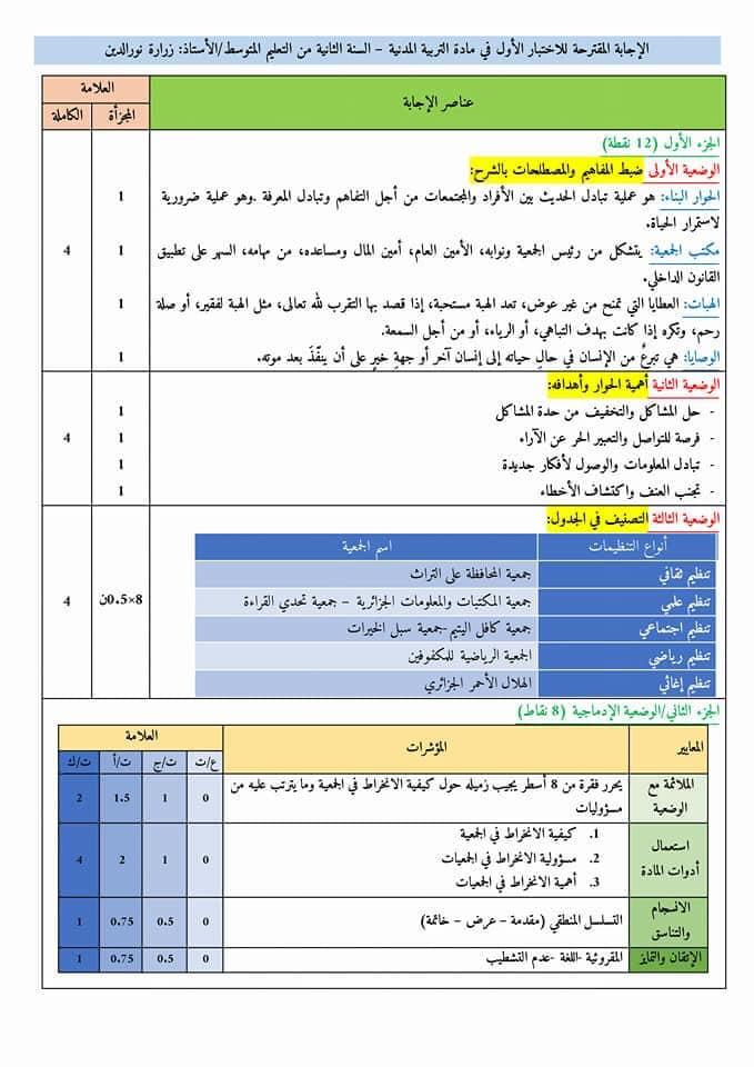 اختبارات الفصل الأول في مادة التربية المدنية للسنة الثانية متوسط مع الحل - الموضوع 06