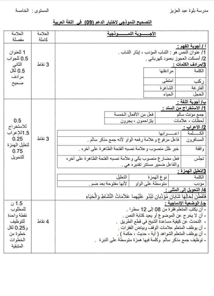 اختبارات الفصل الأول في مادة اللغة العربية للسنة الثالثة متوسط مع الحل - الموضوع 01