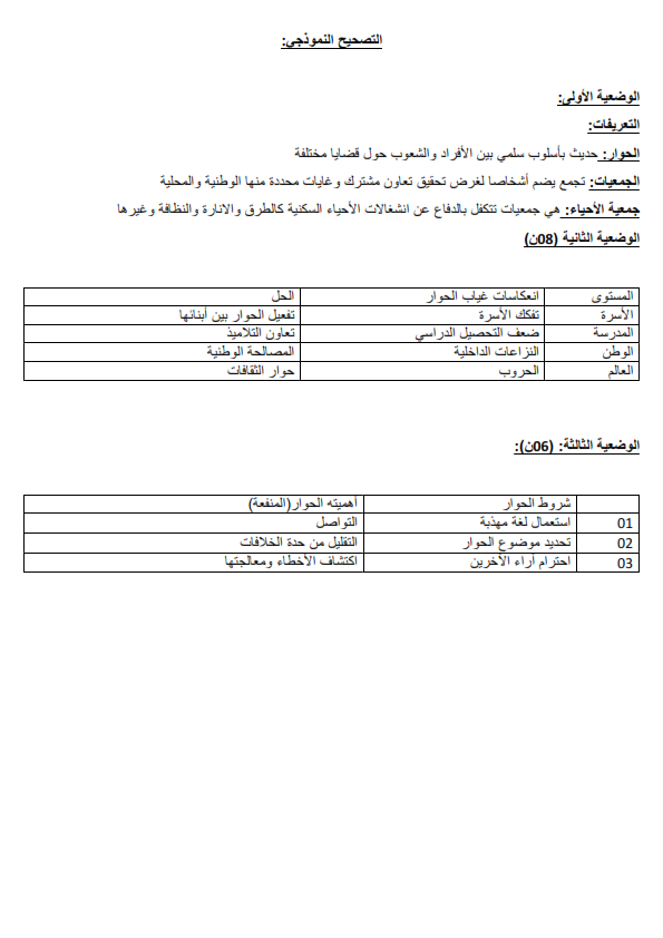 اختبارات الفصل الأول في مادة التربية المدنية للسنة الثانية متوسط مع الحل - الموضوع 01