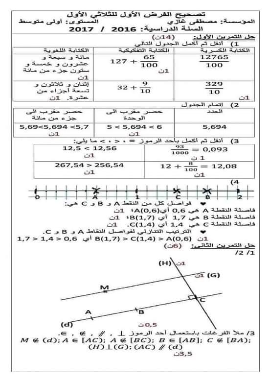 إختبار الفصل الأول في مادة الرياضيات للسنة الأولى متوسط مع الحل - الموضوع 08