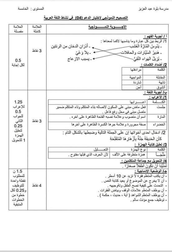 الحل لاختبار اللغة العربية
