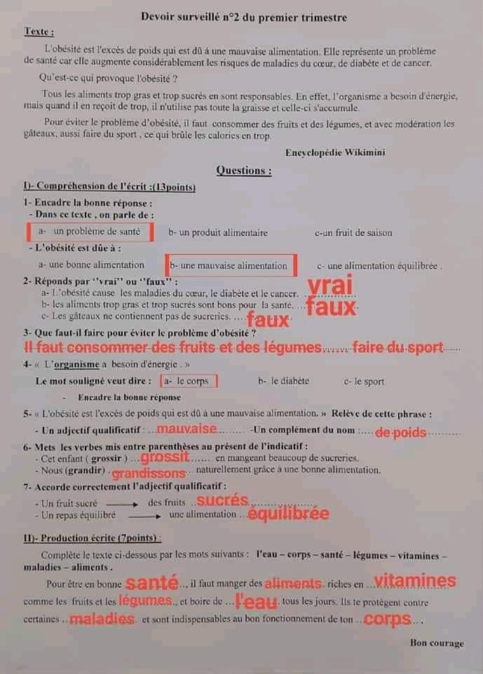 إختبارات الفصل الأول في مادة اللغة الفرنسية للسنة الأولى متوسط مع الحل - الموضوع 03