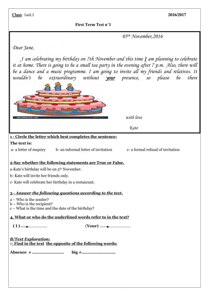 اختبارات الفصل الأول في مادة اللغة الإنجليزية السنة الأولى ثانوي أدبي - الموضوع 01