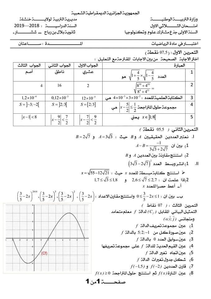 اختبارات الفصل الأول في مادة الرياضيات السنة الأولى ثانوي علمي مع الحل - الموضوع 07