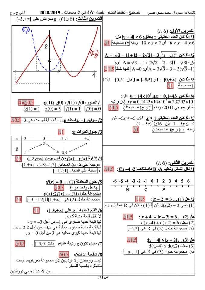 اختبارات الفصل الأول في مادة الرياضيات السنة الأولى ثانوي علمي مع الحل - الموضوع 11