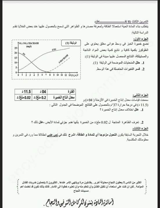 اختبارات الفصل الأول في مادة العلوم الطبيعية السنة الأولى ثانوي علمي مع الحل - الموضوع 01