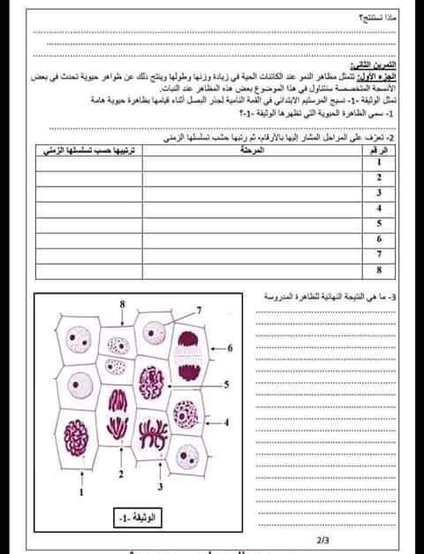 اختبارات الفصل الأول في مادة العلوم الطبيعية السنة الأولى ثانوي علمي مع الحل - الموضوع 02