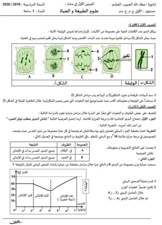 اختبارات الفصل الأول في مادة العلوم الطبيعية السنة الأولى ثانوي علمي مع الحل - الموضوع 10