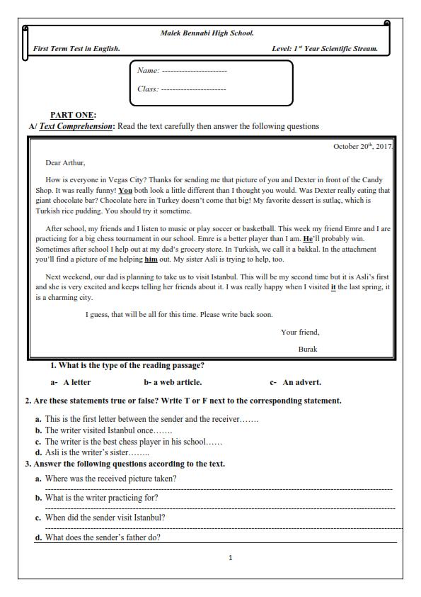 اختبارات الفصل الأول في مادة اللغة الإنجليزية السنة الأولى ثانوي علمي مع الحل - الموضوع 02