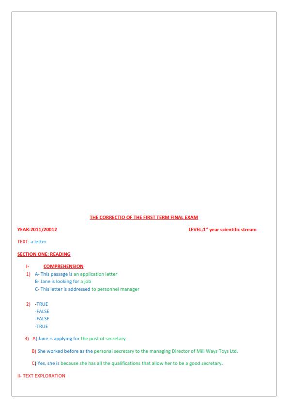 اختبارات الفصل الأول في مادة اللغة الإنجليزية السنة الأولى ثانوي علمي مع الحل - الموضوع 03