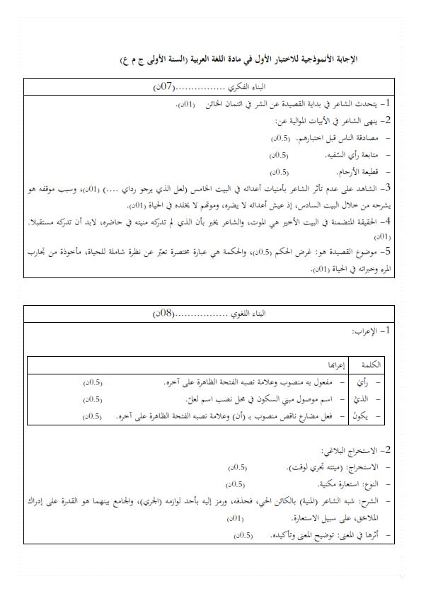 اختبارات الفصل الأول في مادة اللغة العربية السنة الأولى ثانوي أدبي مع الحل - الموضوع 05