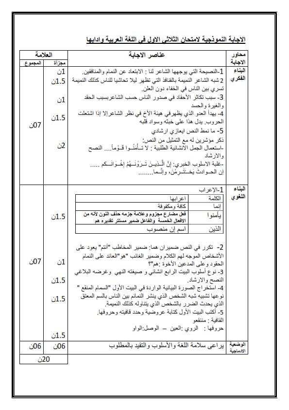 اختبارات الفصل الأول في مادة اللغة العربية السنة الأولى ثانوي أدبي مع الحل - الموضوع 06