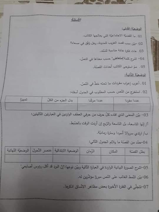 اختبارات الفصل الأول في مادة اللغة العربية للسنة الرابعة متوسط - الموضوع 06