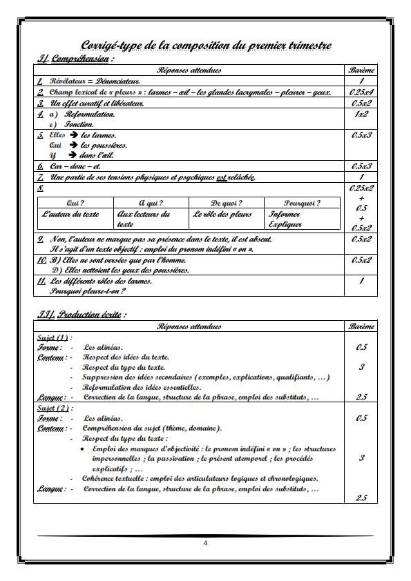 اختبارات الفصل الأول في مادة اللغة الفرنسية السنة الأولى ثانوي أدبي مع الحل - الموضوع 02