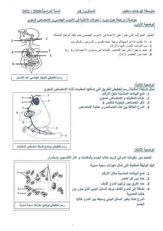 اختبارات الفصل الأول في مادة العلوم الطبيعية السنة الرابعة متوسط مع الحل - الموضوع 11