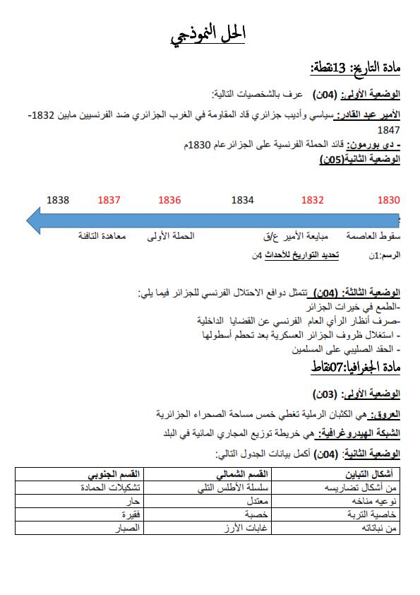 اختبارات الفصل الأول في مادة التاريخ والجغرافيا السنة الرابعة متوسط مع الحل - الموضوع 02