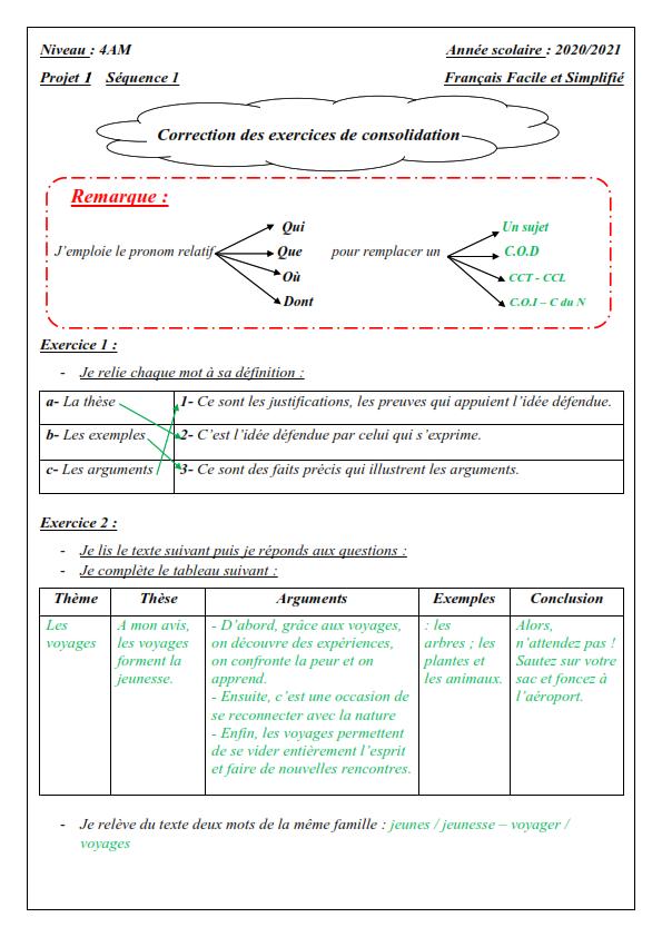 اختبارات الفصل الأول في مادة اللغة الفرنسية للسنة الرابعة متوسط