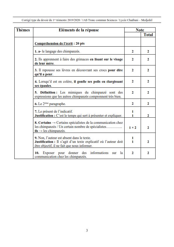 اختبارات الفصل الأول في مادة اللغة الفرنسية السنة الأولى ثانوي علمي مع الحل - الموضوع 10