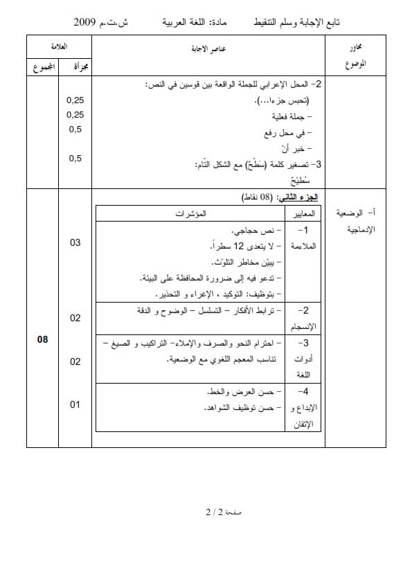 الحل النموذجي لاختبار شهادة التعليم المتوسط Bem 2009 في اللغة العربية