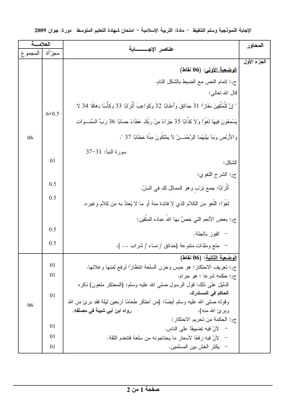 الحل النموذجي لاختبار شهادة التعليم المتوسط Bem 2009 في التربية الإسلامية