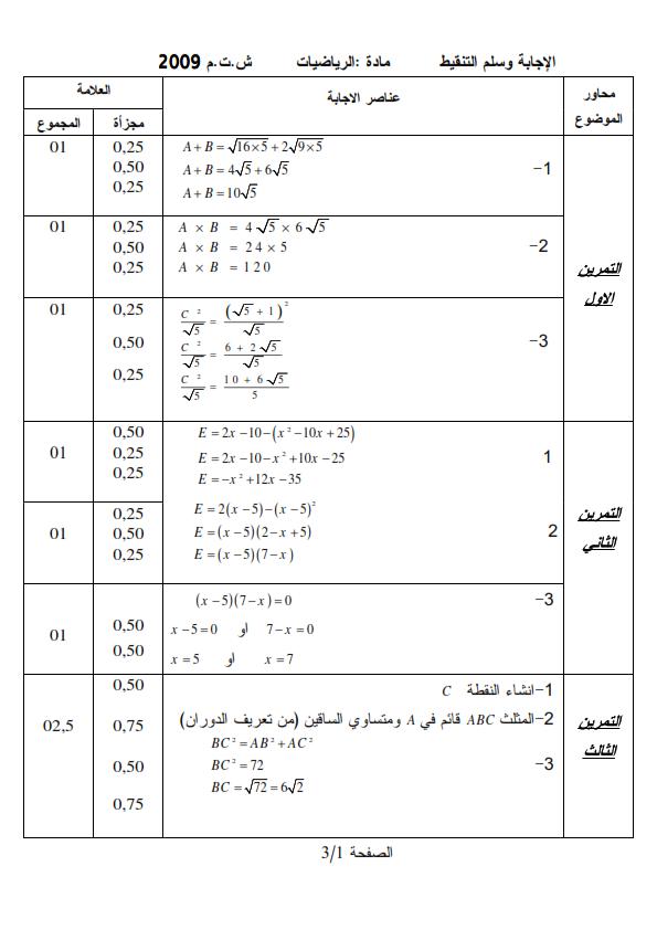 الحل النموذجي لاختبار شهادة التعليم المتوسط Bem 2009 في مادة الرياضيات