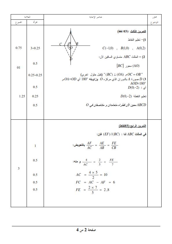 الحل النموذجي لاختبار شهادة التعليم المتوسط Bem 2010 في مادة الرياضيات