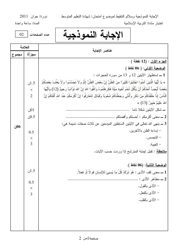 الحل النموذجي لاختبار شهادة التعليم المتوسط Bem 2011 في التربية الإسلامية