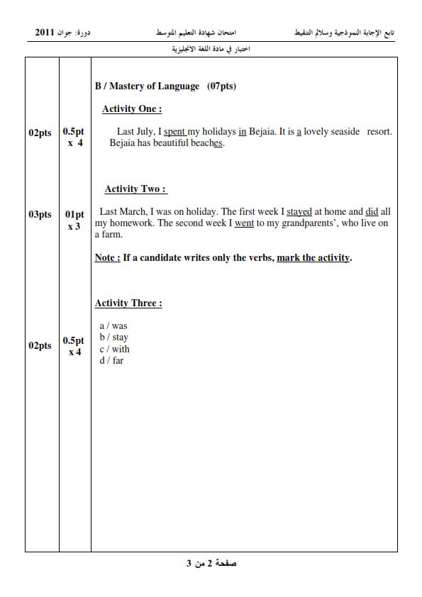 الحل النموذجي لاختبار شهادة التعليم المتوسط Bem 2011 في اللغة الإنجليزية