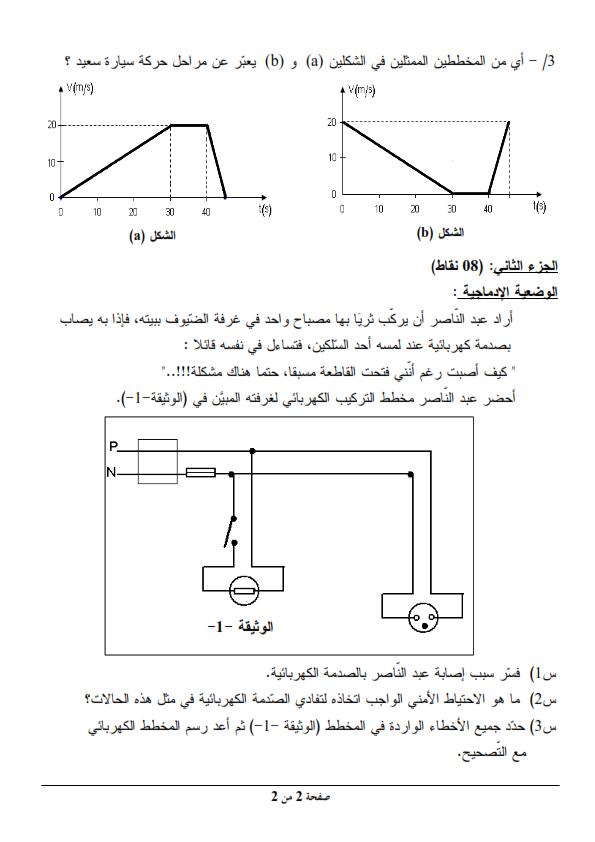 اختبار شهادة التعليم المتوسط Bem 2012 في العلوم الفيزيائية مع الحل النموذجي