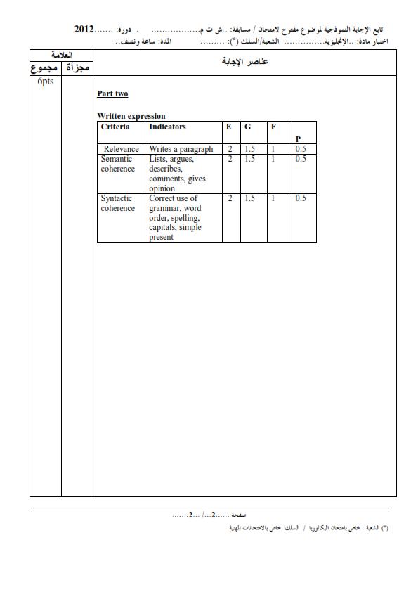 الحل النموذجي لاختبار شهادة التعليم المتوسط Bem 2012 في اللغة الإنجليزية