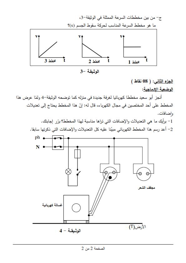 اختبار شهادة التعليم المتوسط Bem 2013 في العلوم الفيزيائية مع الحل النموذجي