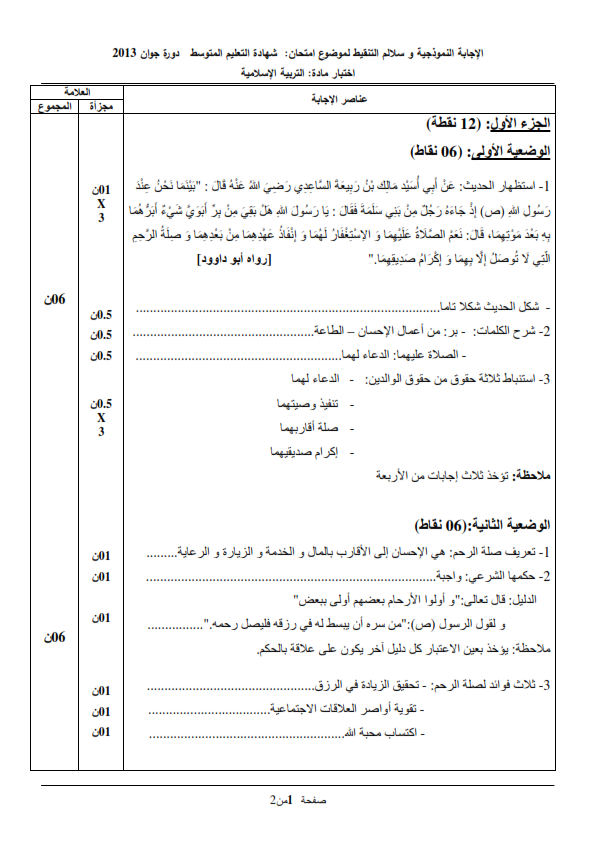 الحل النموذجي لاختبار شهادة التعليم المتوسط Bem 2013 في التربية الإسلامية