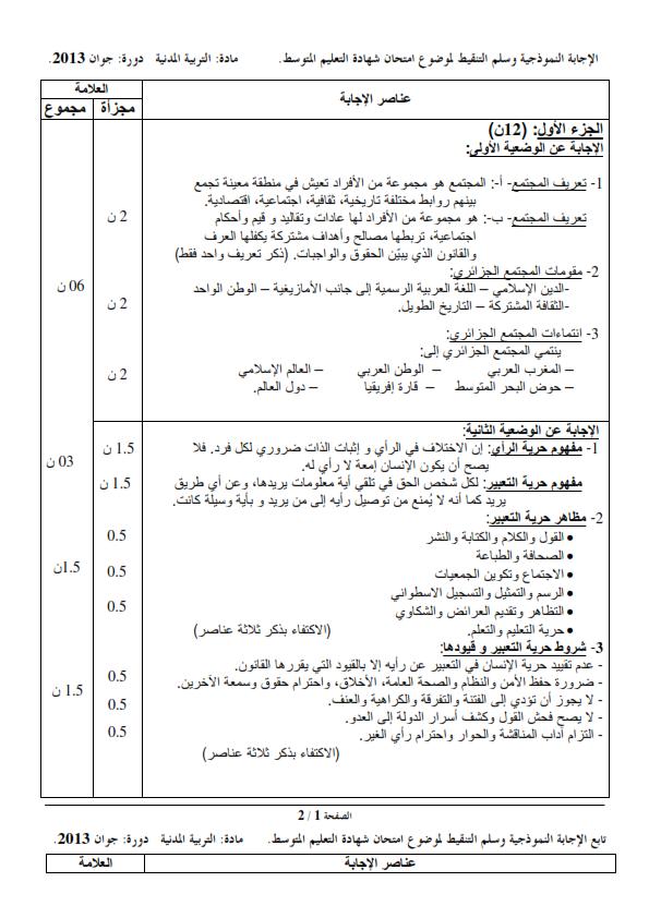 الحل النموذجي لاختبار شهادة التعليم المتوسط Bem 2013 في التربية المدنية