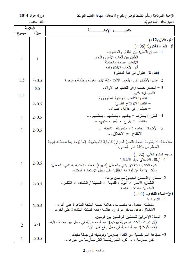 الحل النموذجي لاختبار شهادة التعليم المتوسط Bem 2014 في اللغة العربية