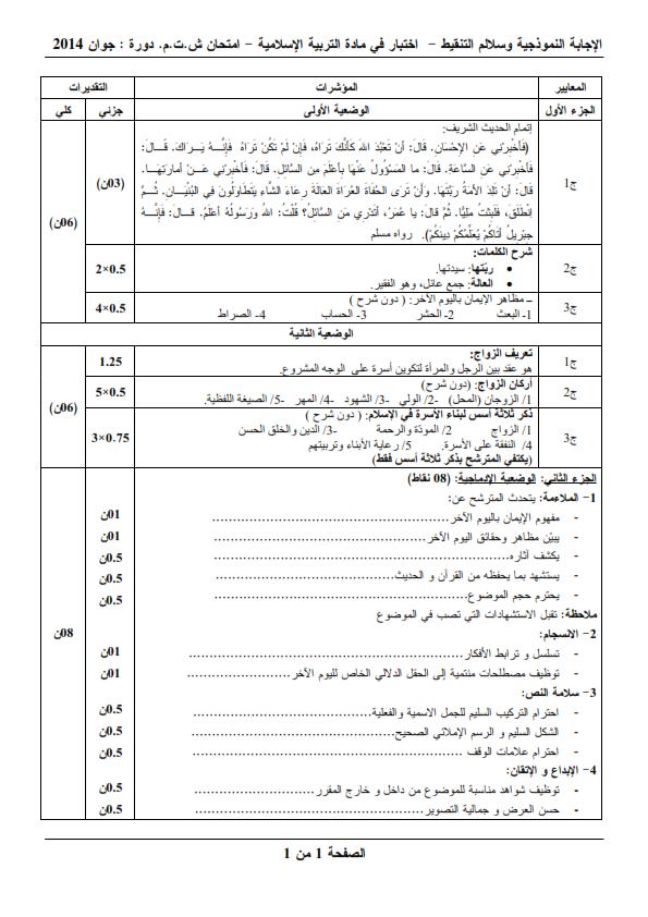 الحل النموذجي لاختبار شهادة التعليم المتوسط Bem 2014 في التربية الإسلامية