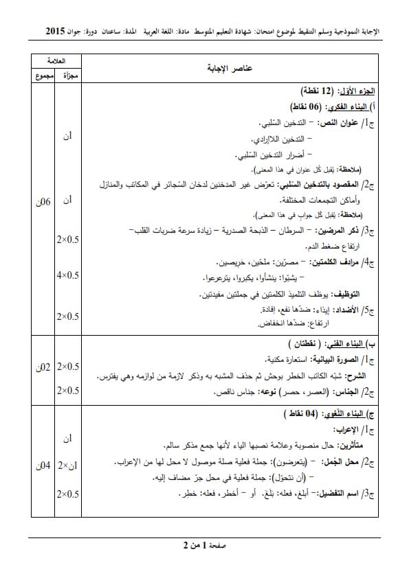 الحل النموذجي لاختبار شهادة التعليم المتوسط Bem 2015 في اللغة العربية