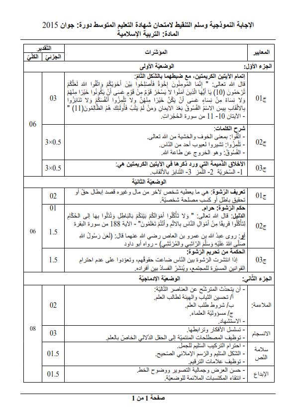 الحل النموذجي لاختبار شهادة التعليم المتوسط Bem 2015 في التربية الإسلامية