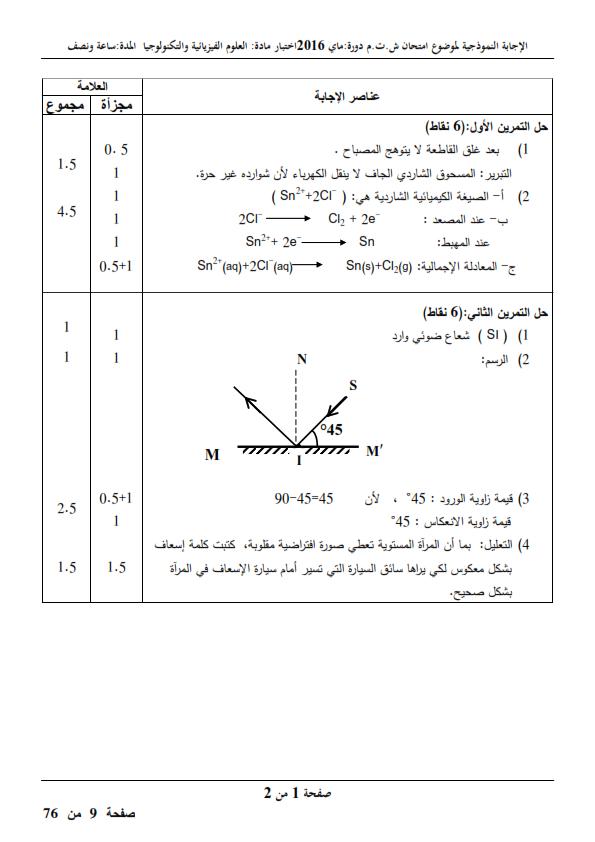 الحل النموذجي لاختبار شهادة التعليم المتوسط Bem 2016 في العلوم الفيزيائية
