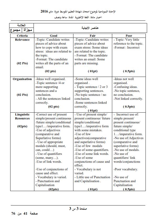 الحل النموذجي لاختبار شهادة التعليم المتوسط Bem 2016 في اللغة الإنجليزية