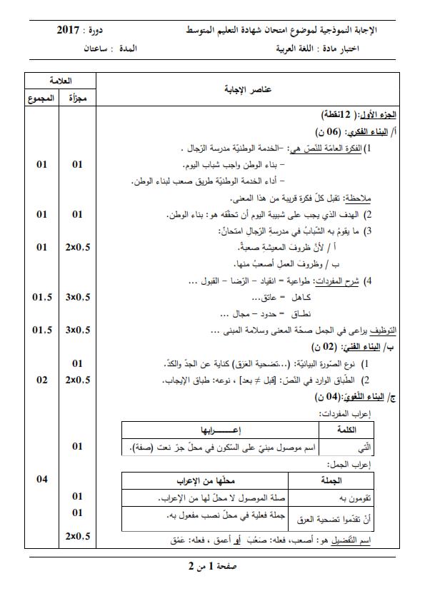 الحل النموذجي لاختبار شهادة التعليم المتوسط Bem 2017 في اللغة العربية