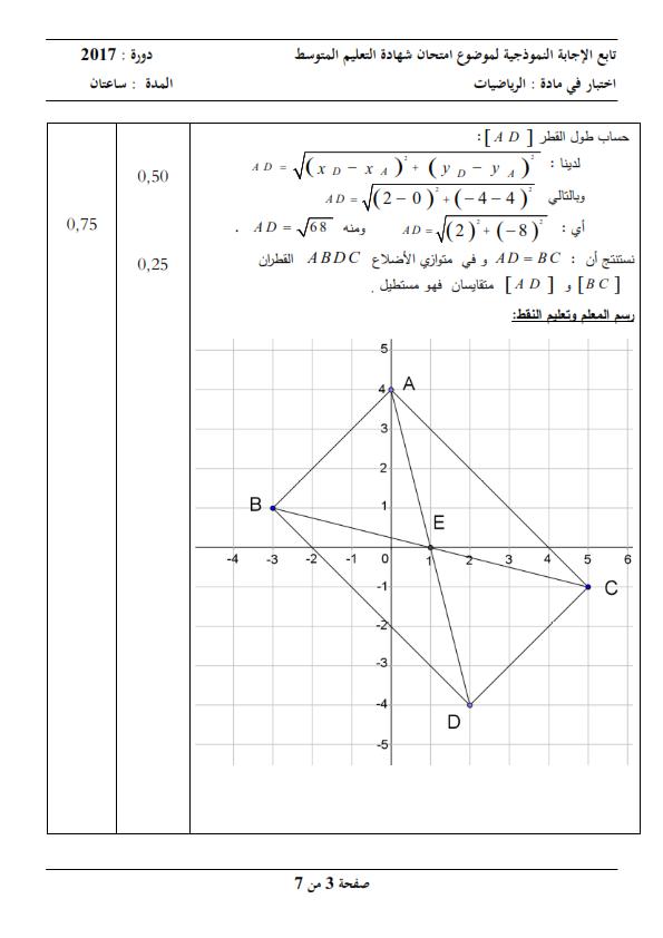 الحل النموذجي لاختبار شهادة التعليم المتوسط Bem 2017 في مادة الرياضيات