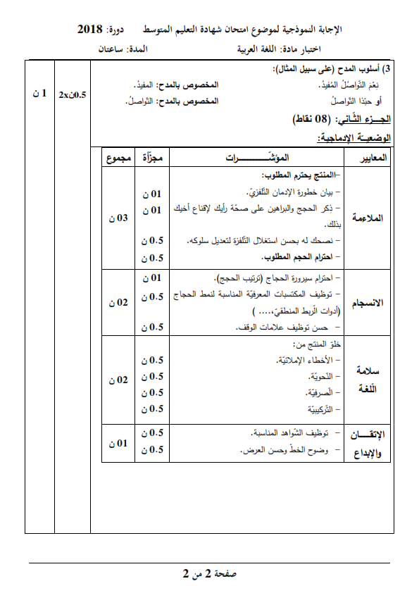 الحل النموذجي لاختبار شهادة التعليم المتوسط Bem 2018 في مادة اللغة العربية