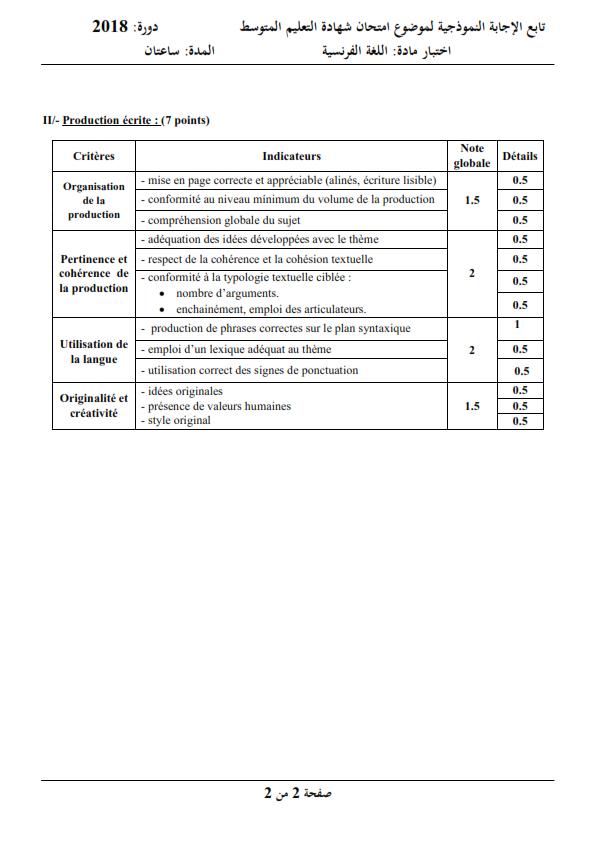 الحل النموذجي لاختبار شهادة التعليم المتوسط Bem 2018 في اللغة الفرنسية
