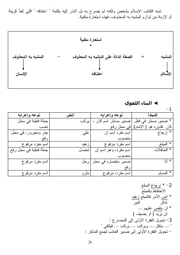 اختبار الفصل الثالث في اللغة العربية مع الحل السنة الرابعة متوسط | الموضوع 08