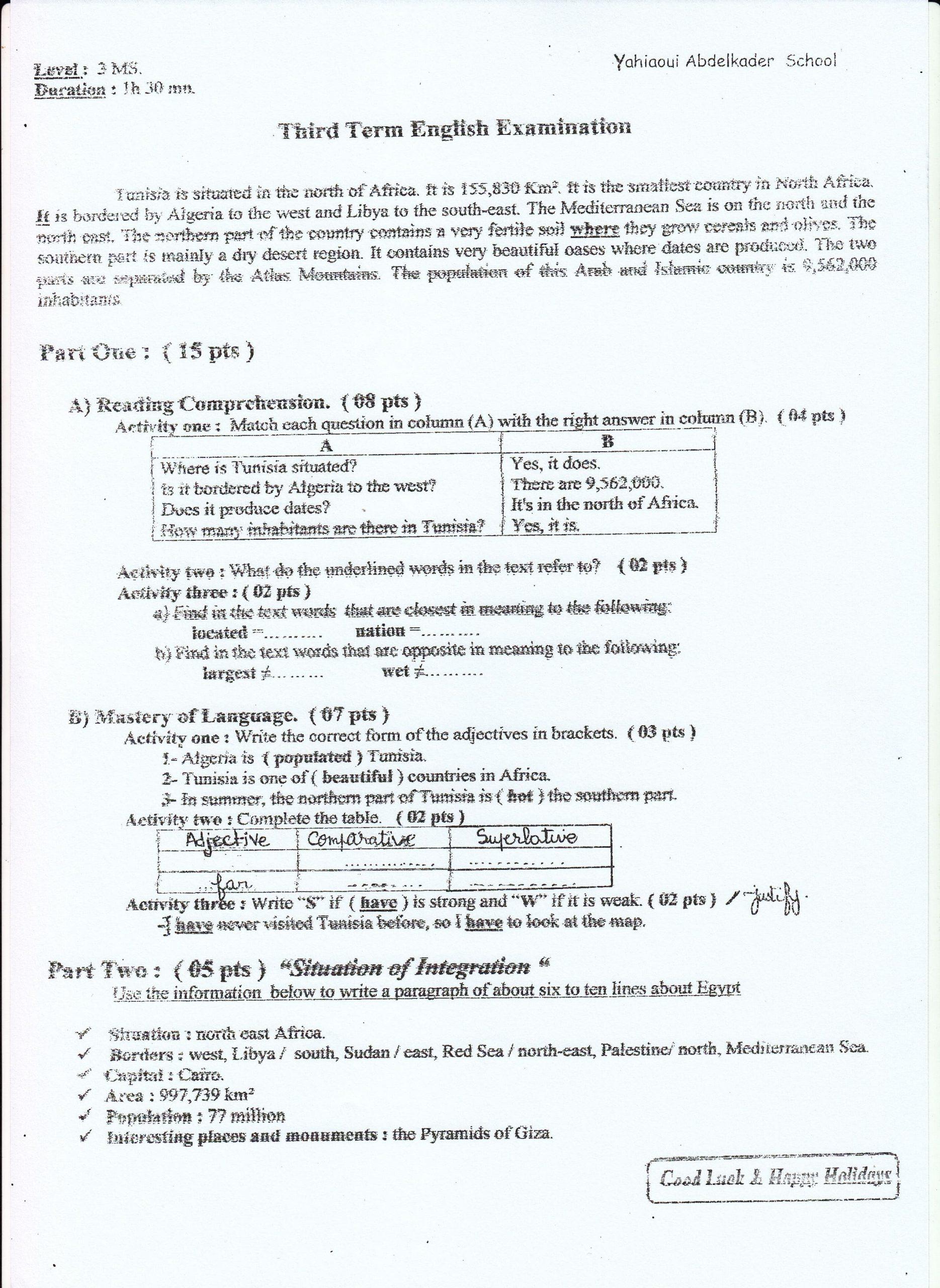 اختبار الفصل الثالث في اللغة الانجليزية السنة الثالثة متوسط   الموضوع 01