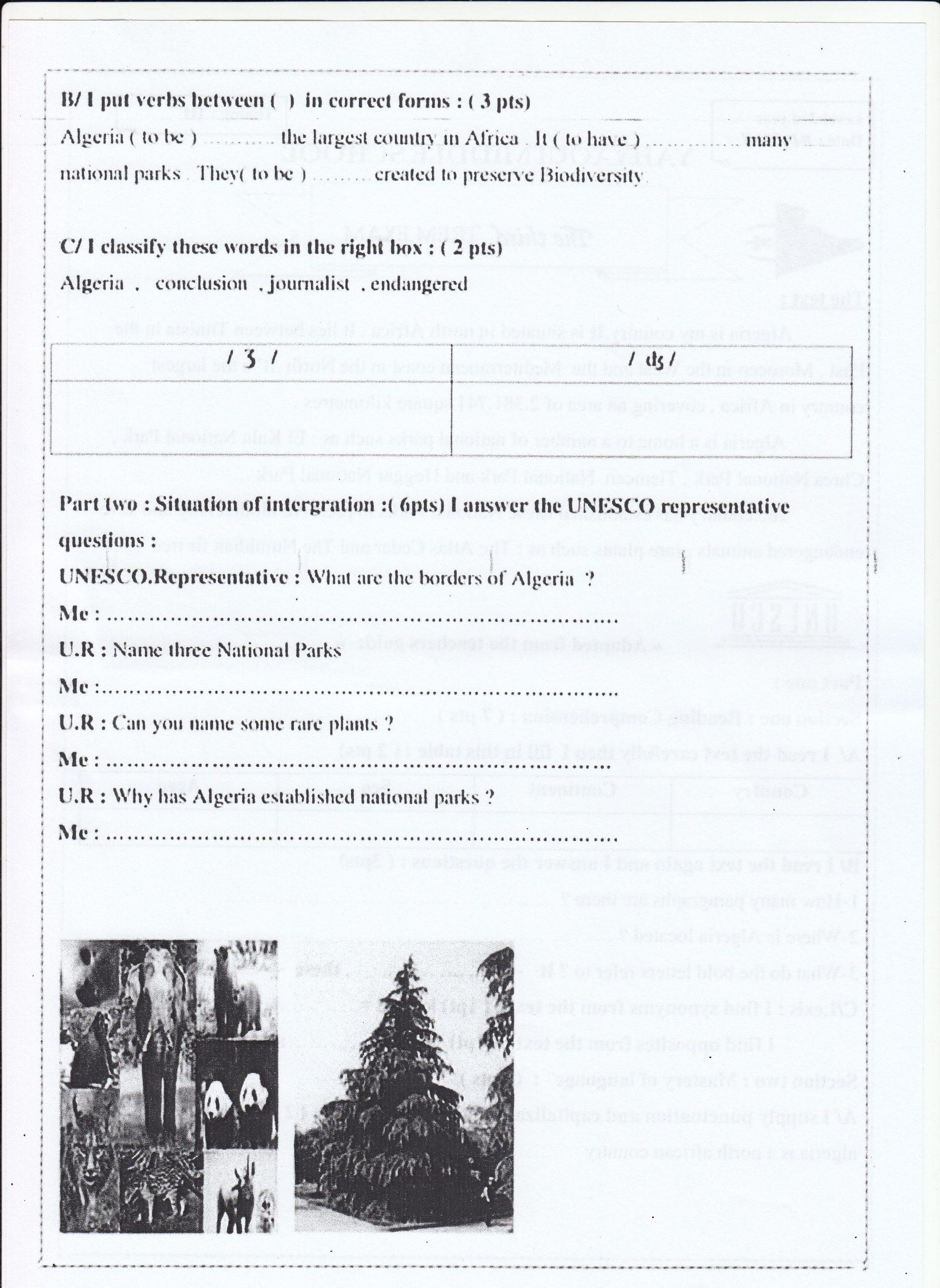 اختبار الفصل الثالث في اللغة الانجليزية السنة الثالثة متوسط   الموضوع 03
