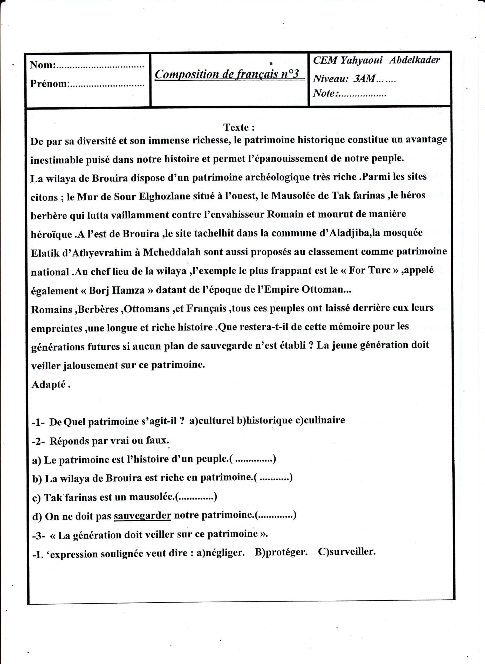 اختبار الفصل الثالث في اللغة الفرنسية السنة الثالثة متوسط | الموضوع 01