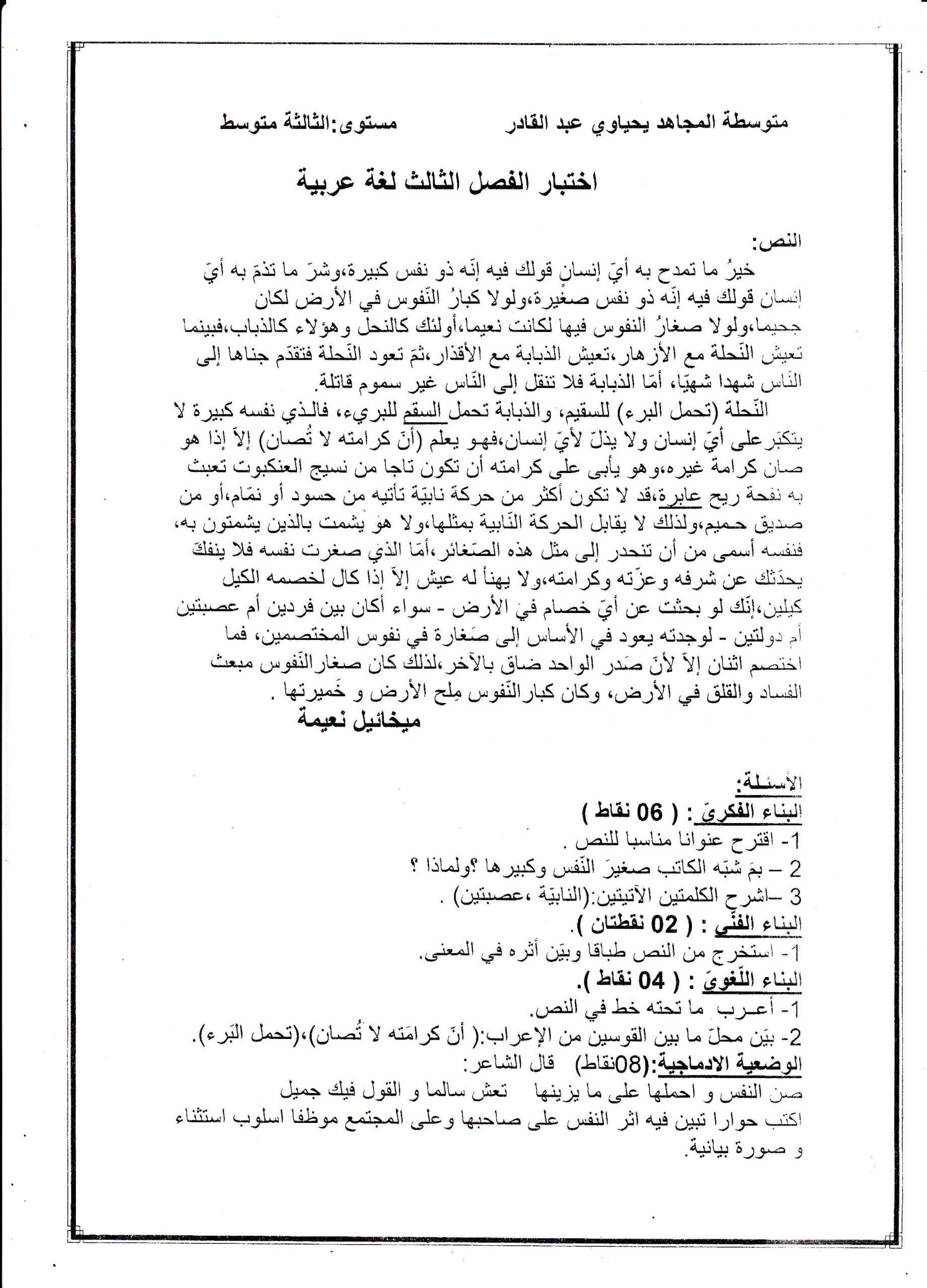 اختبار الفصل الثالث في اللغة العربية السنة الثالثة متوسط | الموضوع 02