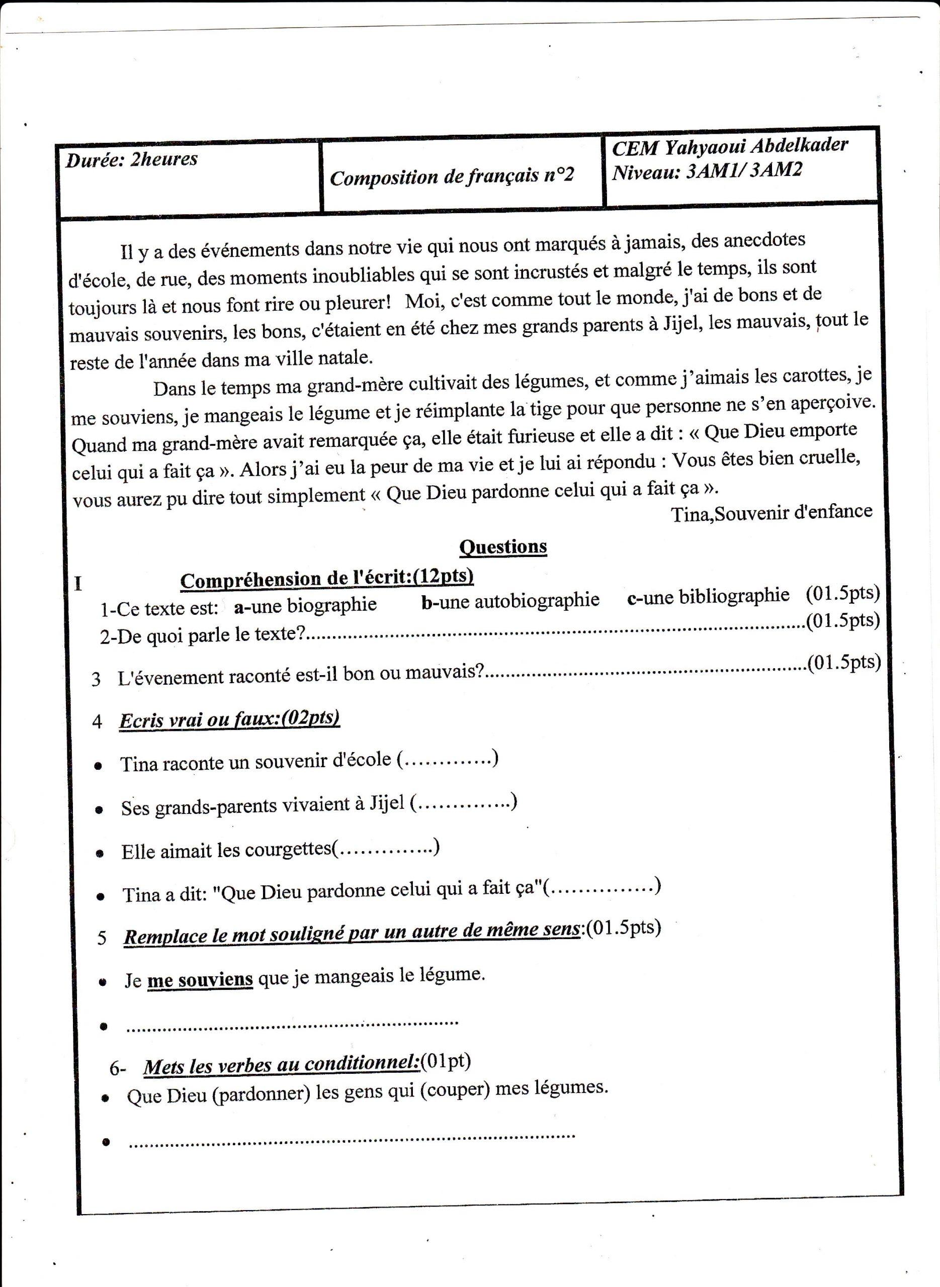 اختبار الفصل الثاني في اللغة الفرنسية السنة الثالثة متوسط   الموضوع 02
