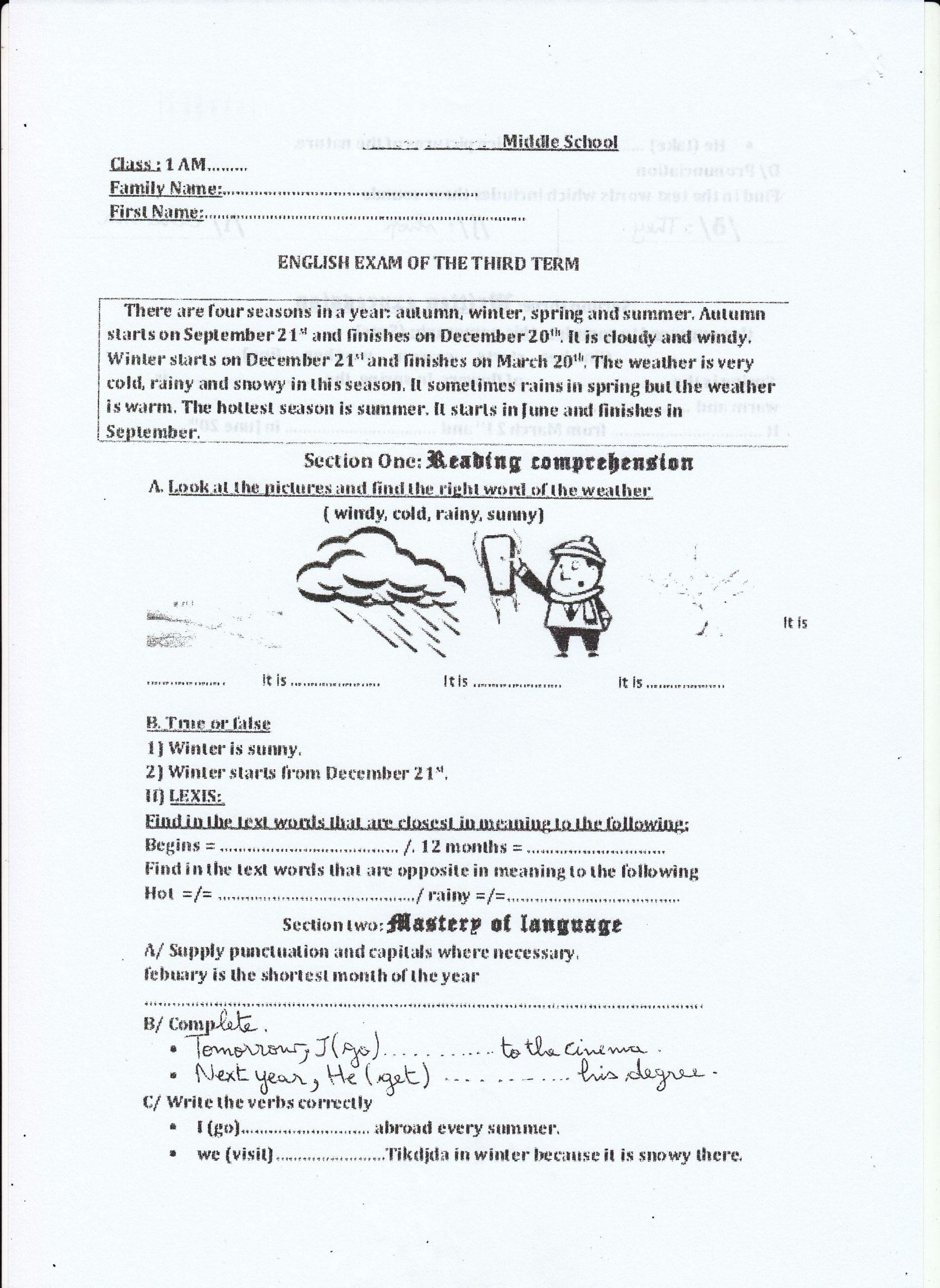 اختبار الفصل الثالث في اللغة الانجليزية للسنة الأولى متوسط - الموضوع 05